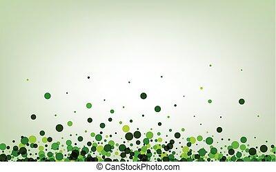 fondo verde, confetti.