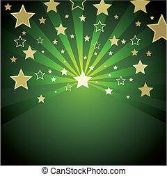 fondo, verde, oro, stelle