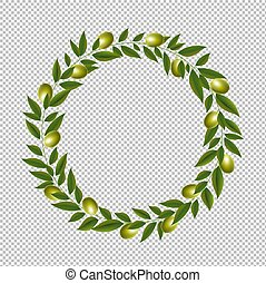 fondo, verde, trasparente, ghirlanda, isolato, oliva