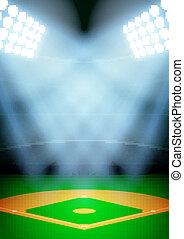 fondo, vettore, baseball, stadio, notte, spotlight.,...