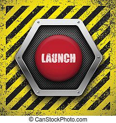 fondo., vettore, eps10, button., lancio