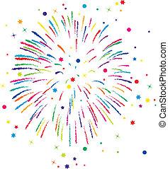 fondo, vettore, fireworks