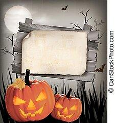 fondo, vettore, halloween, due, pumpkins.