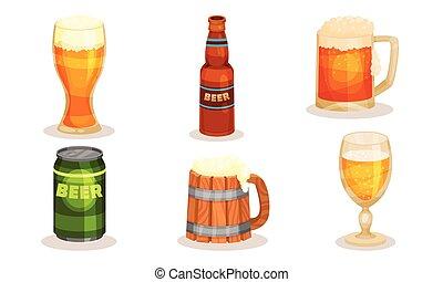 fondo., vettore, illustrazione, set, tipi, bianco, differente, beer.