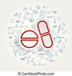 fondo., vettore, sanità, handdrawn, doodles, pillole, icona
