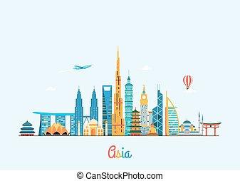 fondo., viaje turismo, asia, skyline.