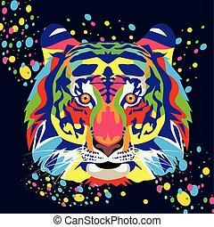 fondo, vita, selvatico, nero, technicolor, tiger