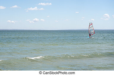 fondo., windsurfers., kiteboarders, mar, picado
