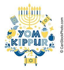 fondo., yom, ilustración, velas, kippur, manzanas, white., ...