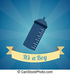 Fondos 2 - Its a boy illustration over blue color background