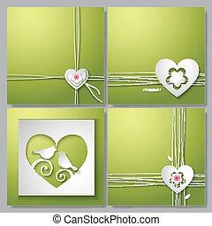 fondos, con, adore corazón, y, flor