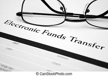 fondos, electrónico, transferencia