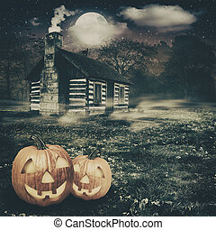 fondos, fantasmal, resumen, farol gato o, lugar, halloween