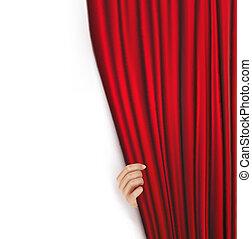fondos, terciopelo, cortina roja
