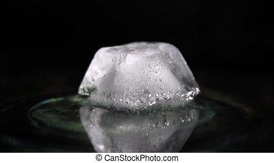 fondre, bulles, cube, glace, air