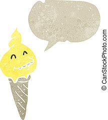 fondre, cône, glace, retro, dessin animé, crème