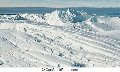 fondre, climat, groenland, glacier, global, -, icebergs, changement, chauffage