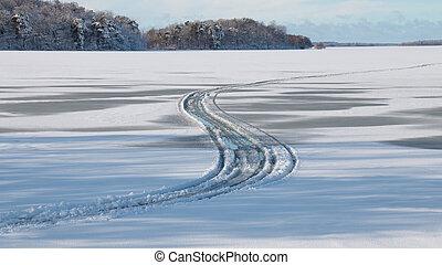 fondre, pistes, neige, pneu