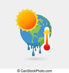 fondre, soleil, concept., global, thermomètre, la terre, chauffage