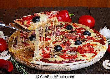 fondre, soulevé, couper, fromage, chaud, pizza