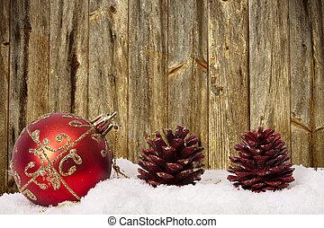 fonds, à, traditionnel, décoration noël, et, noël, fetes