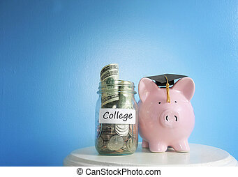 fonds, économies, collège, tirelire