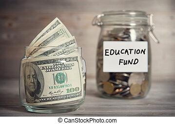 fonds, concept, financieel, opleiding, label.