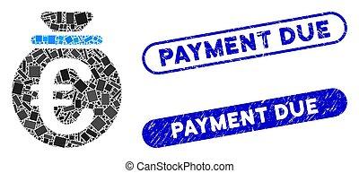 fonds, gratté, timbres, mosaïque, paiement, euro, dû, rectangle