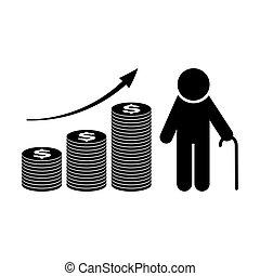 fonds retraite, vecteur, croissance, pension, plan., icon.