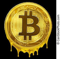 fondu, bitcoin, ou, btc, échec, concept, 3d, illustration