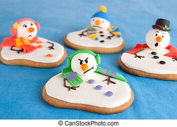 fondu, bonhomme de neige, biscuits
