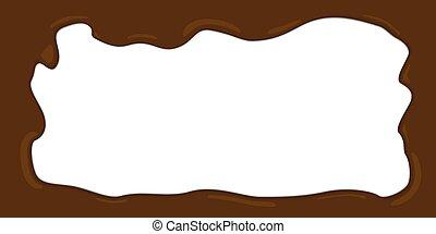 fondu, cadre, vecteur, illustration, chocolat