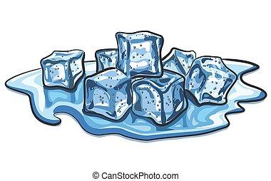 fondu, cubes, glace