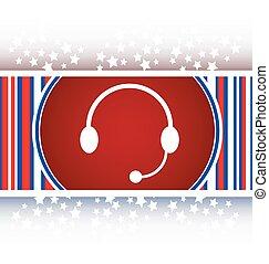 fones, ícone, ligado, redondo, internet, botão, original, ilustração