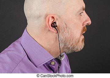 fones, através, escutar, música, barba, homem