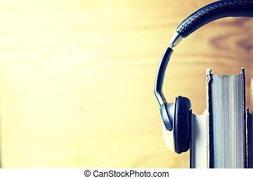 fones, audiobook, conceito