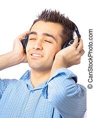 fones, escutar música, homem