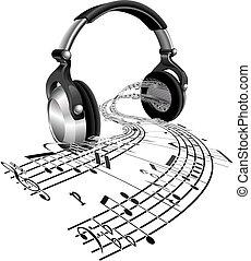fones, música folha, notas, conceito