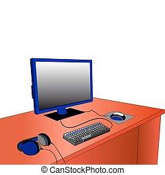 fones, monitor, desktop, experiência., computador, branca, rato