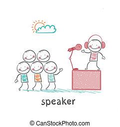 fones, orador, conta, pessoas