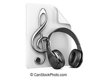 fones, playlist, e, notas, -, conceito, de, um, música