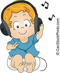 fones, toddler, escutar, menino, música