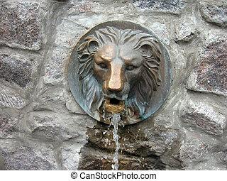 fontän, huvud, -, lejon