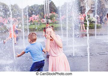 fontän, tycka om, flöde, barn, vatten