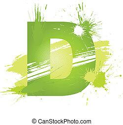 font., 抽象的, ペンキ, 緑, はねる, 手紙, d