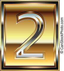 font, 2, lingotto, numero, illustrazione