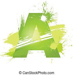 font., abstrakcyjny, malować, zielony, plamy, litera