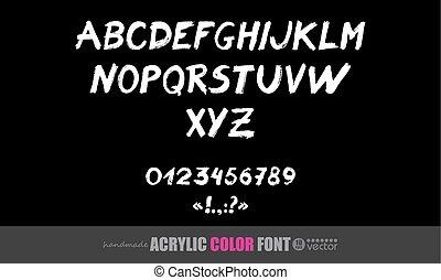 font, acrilico, symbols., numeri, scritto mano