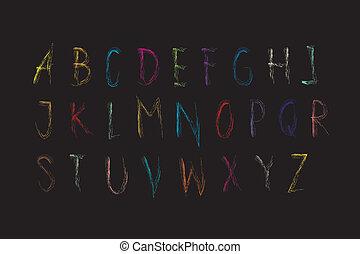 font, alfabeto, -, fondo, colouful, pastello, lettrs, nero, z