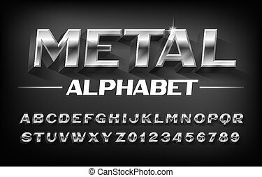 font., alphabet, 3d, shadow., biseauté, lettres, métal, nombres, chrome